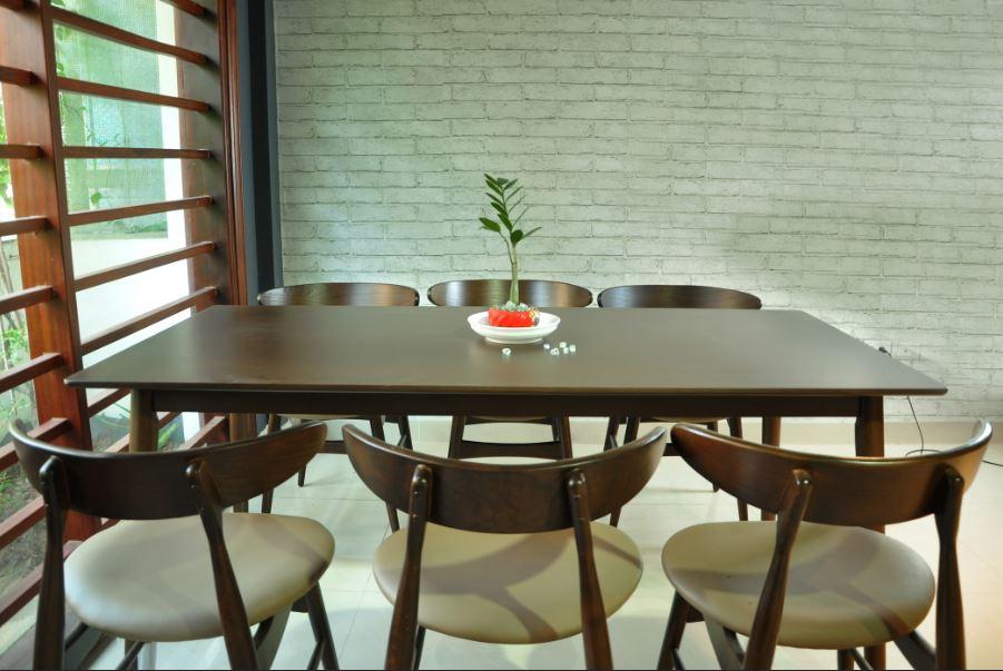 Bộ bàn ghế ăn hiện đại Lunar 6 ghế màu Nâu