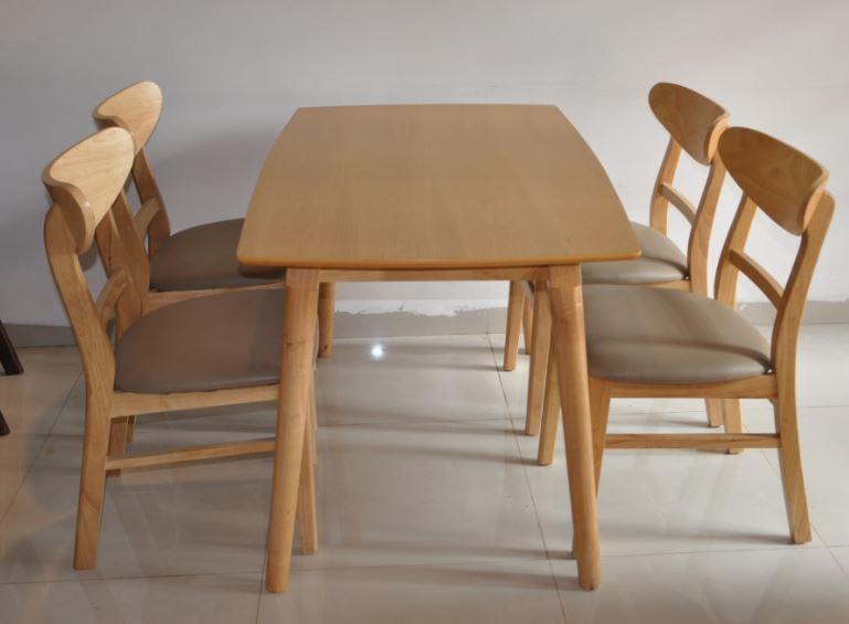 Bộ bàn ghế ăn đẹp Mango 4 ghế màu vàng
