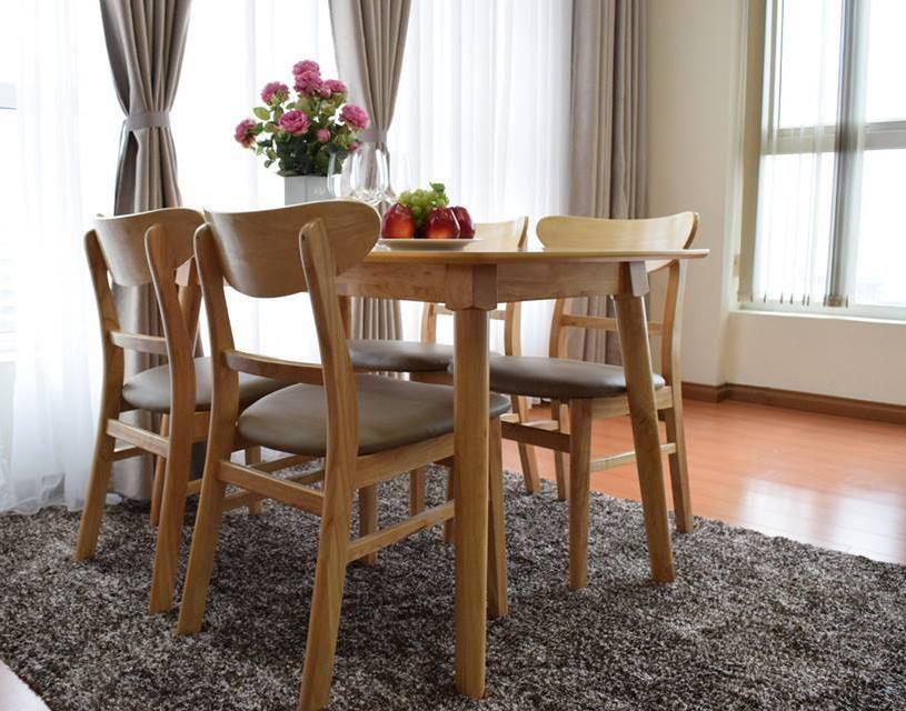 Bàn ghế ăn đẹp Mango 4 ghế màu vàng