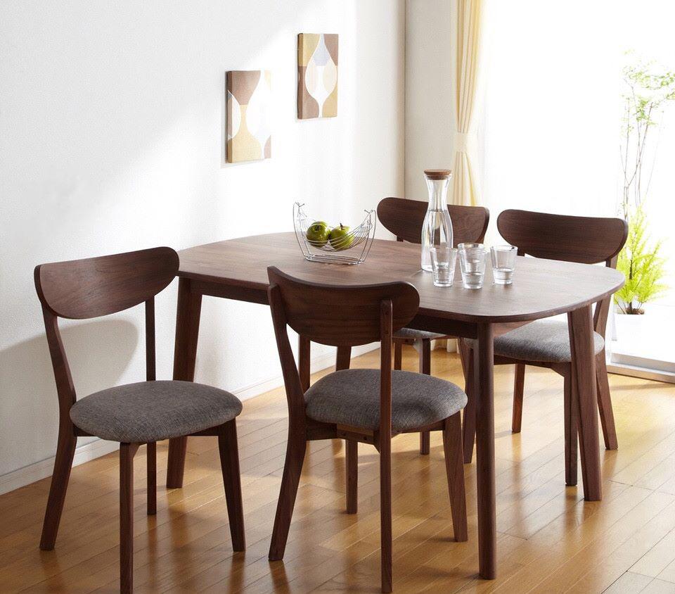 Bộ bàn ghế ăn hiện đại Mango màu nâu