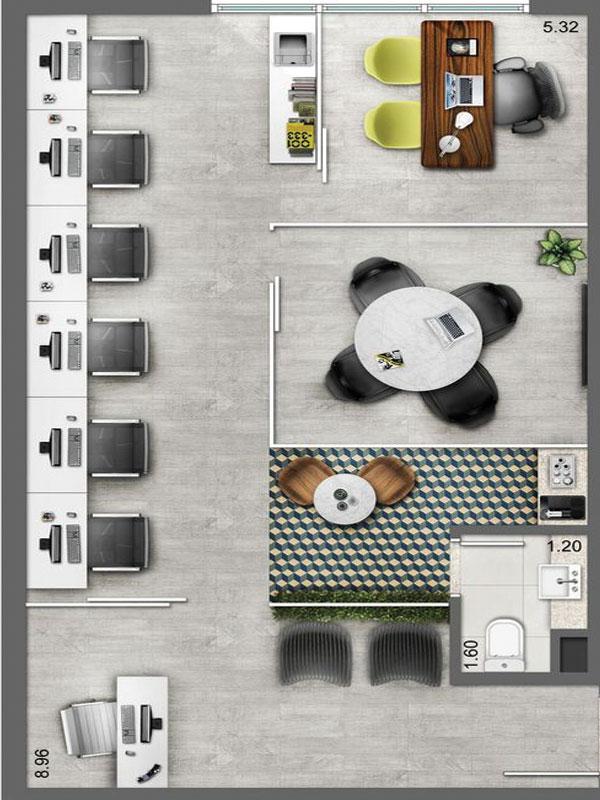 Mẫu thiết kế văn phòng công ty nhỏ cho 10-50 người ngồi, trang bị cả phòng họp tròn nhỏ và khu vực bàn làm việc riêng của giám đốc