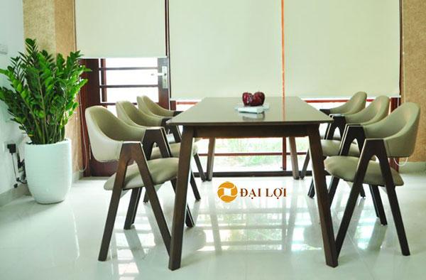 bộ bàn ăn 6 ghế hiện đại emma màu nâu
