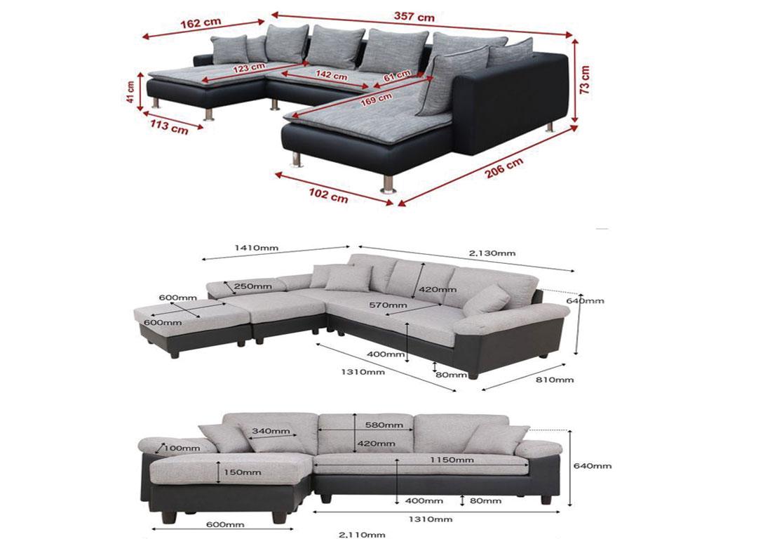 Một số kích thước phổ biến của ghế sofa