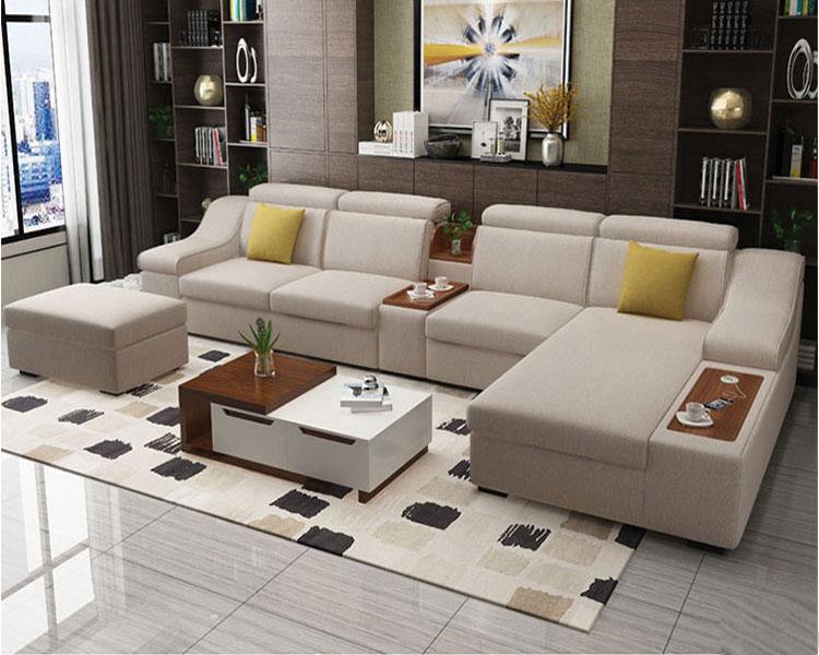 Sofa nỉ phòng khách DL-02SF kích thước lớn 4m nhiều màu sắc, màu ghi