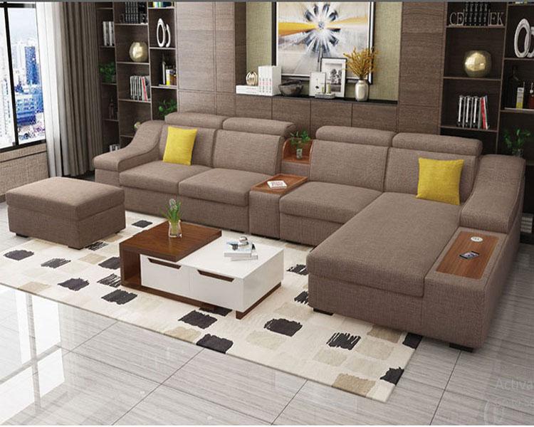 Sofa nỉ màu vàng ghi