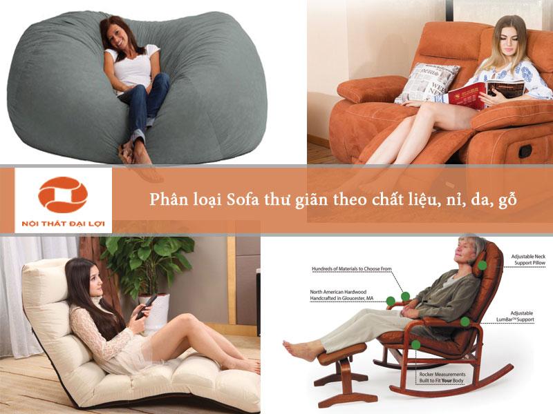 Phân loại sofa nghỉ ngơi thư giãn theo chất liệu Nỉ, Da, Gỗ