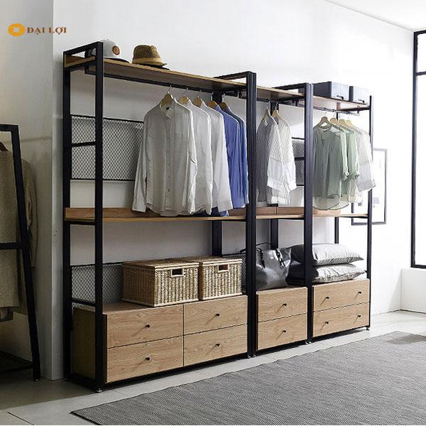 Hình ảnh thực tế chi tiết thiết kế kệ sắt của shop quần áo