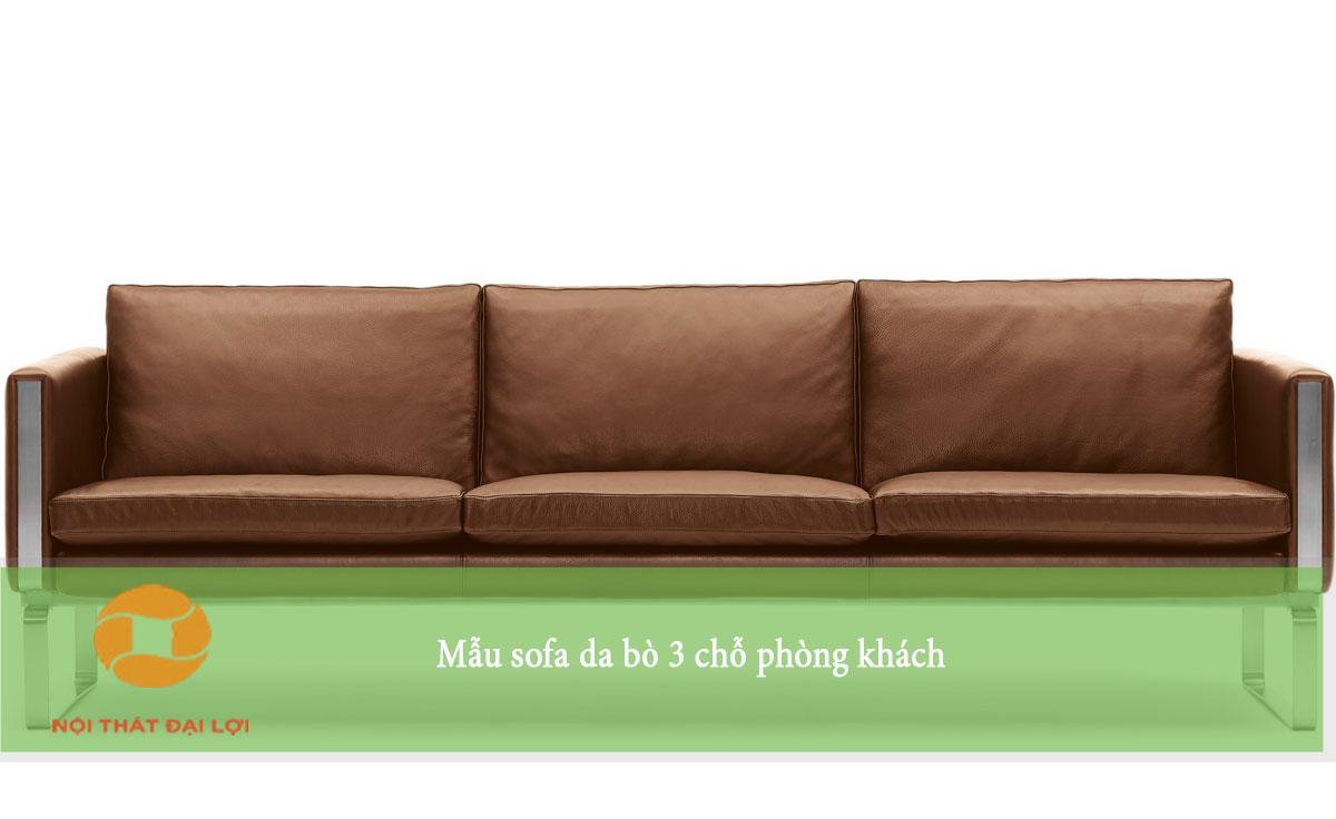 Mẫu 1 - Sofa văng da bò 3 chỗ cho phòng khách
