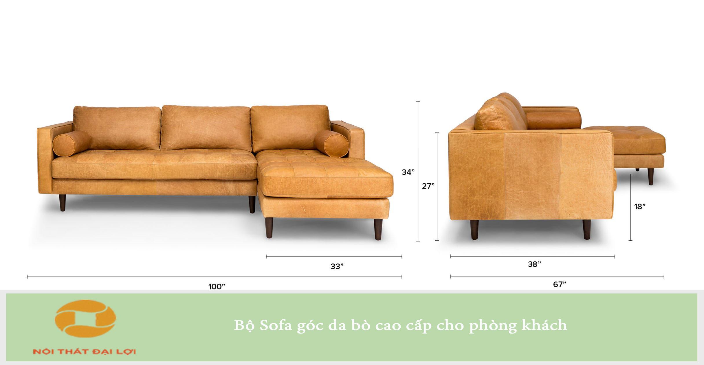 Mẫu 3 - Sofa góc da bò tuyệt đẹp cho phòng khách sang trọng