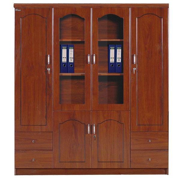 Tủ giám đốc 4 cánh cao cấp sơn PU thiết kế 2 cánh gỗ và 2 cánh kính và các ngăn kéo nhỏ, tủ có thiết kế kèm tủ quần áo