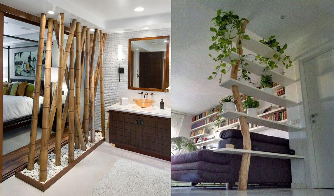 vách ngăn bằng tre và gỗ