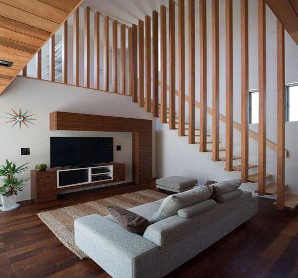 Vách Ngăn Cầu Thang bằng gỗ cho nhà thêm thoáng và nổi bật