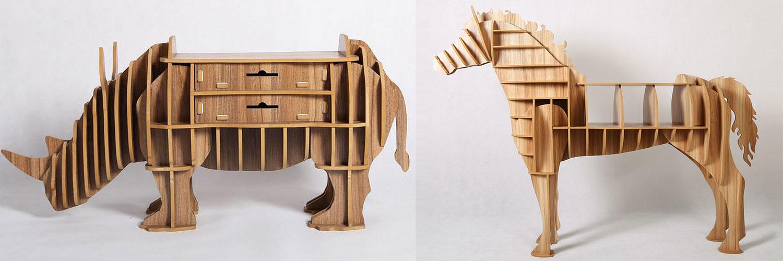 Tủ kệ sách hình động vật hình tê giác, Hình con tê giác, hình con ngựa.