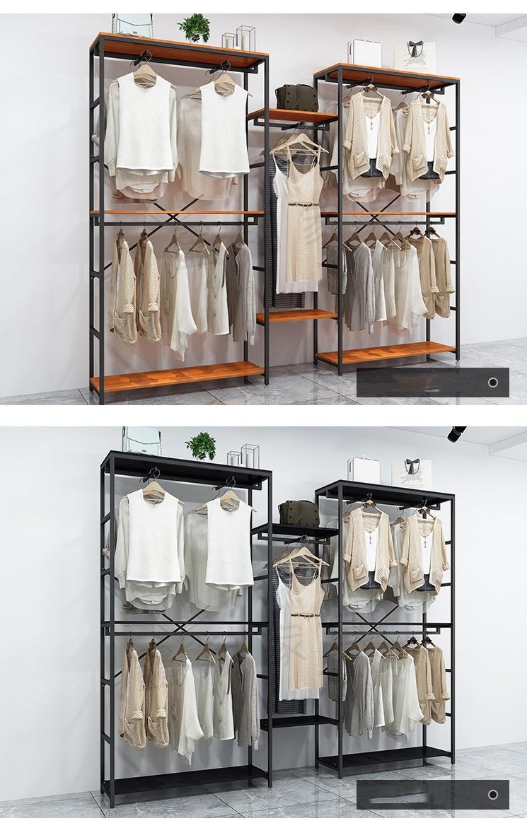 Kệ treo quần áo khung sắt - mặt gỗ