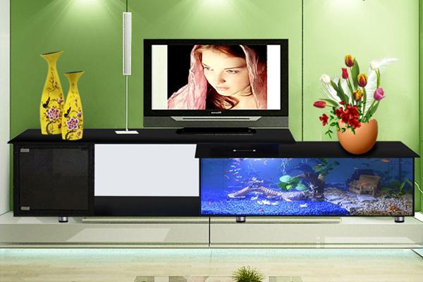 Kệ tivi kết hợp bể cá