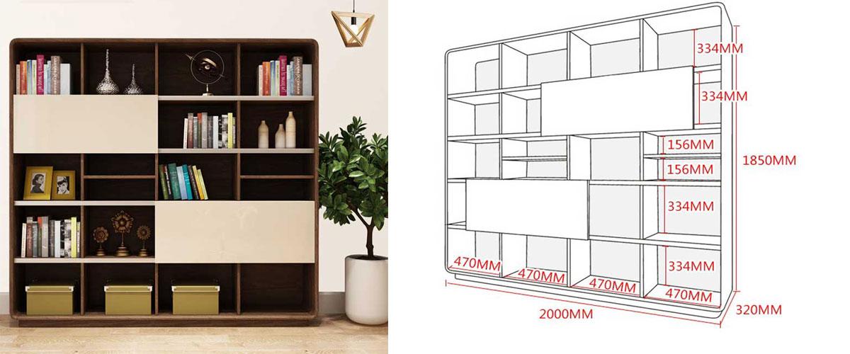 Tủ sách gỗ trang trí