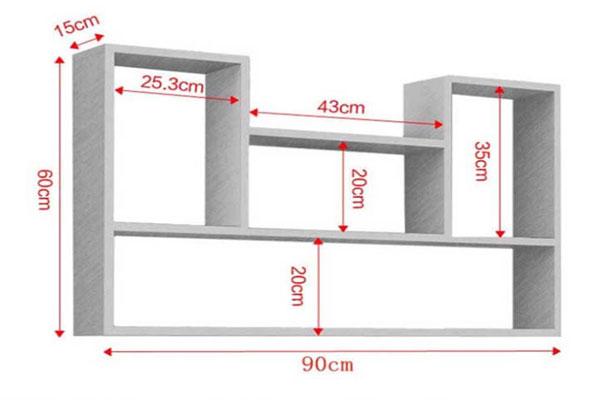kích thước kệ sách treo tường