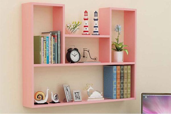 Kệ sách gỗ treo tường nhiều màu sắc, vừa làm kệ sách vừa làm kệ trang trí