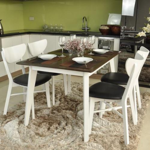 Bộ bàn ăn cao cấp Milano 4 ghế màu trắng