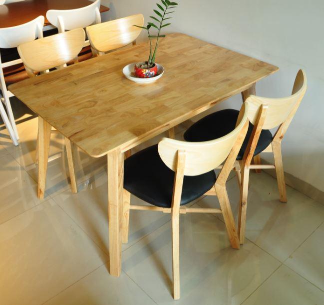Bộ bàn ghế ăn cao cấp Milano 4 ghế màu gỗ tự nhiên