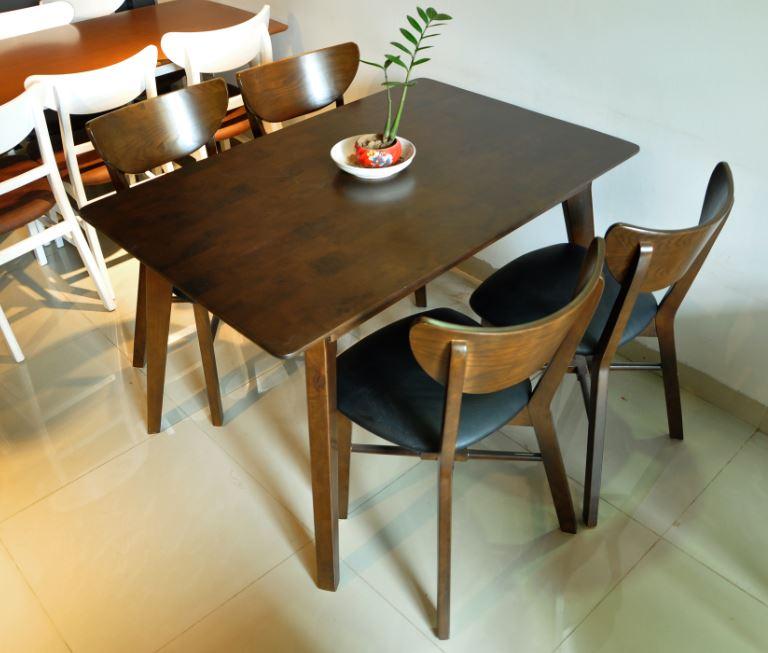 Bộ bàn ghế ăn cao cấp Milano màu nâu