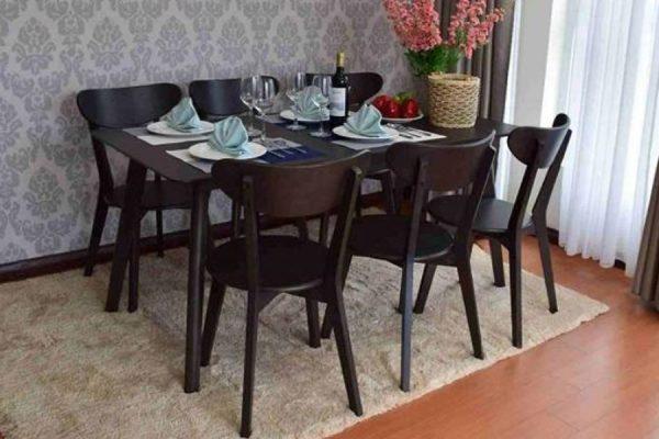 Bộ bàn ghế ăn cao cấp Moontrap 6 ghế màu nâu