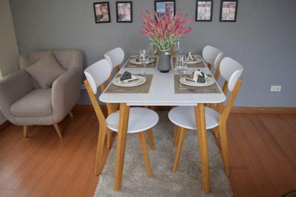 Bộ bàn ghế ăn cao cấp Moontrap4-white