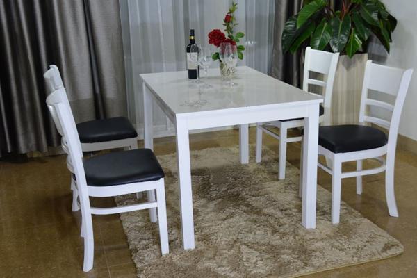 Bộ bàn ghế ăn cao cấp Mostar 4 ghế màu trắng