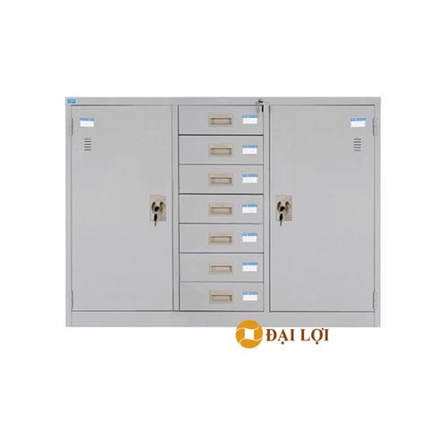 Tủ tài liệu sắt 3 buồng 7 ngăn kéo TU118-7DB