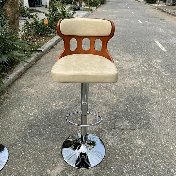 Ghế ngồi quầy bar mặt đệm, lưng gỗ
