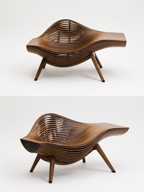 Ghế vỏ sò được làm hoàn toàn từ gỗ óc chó
