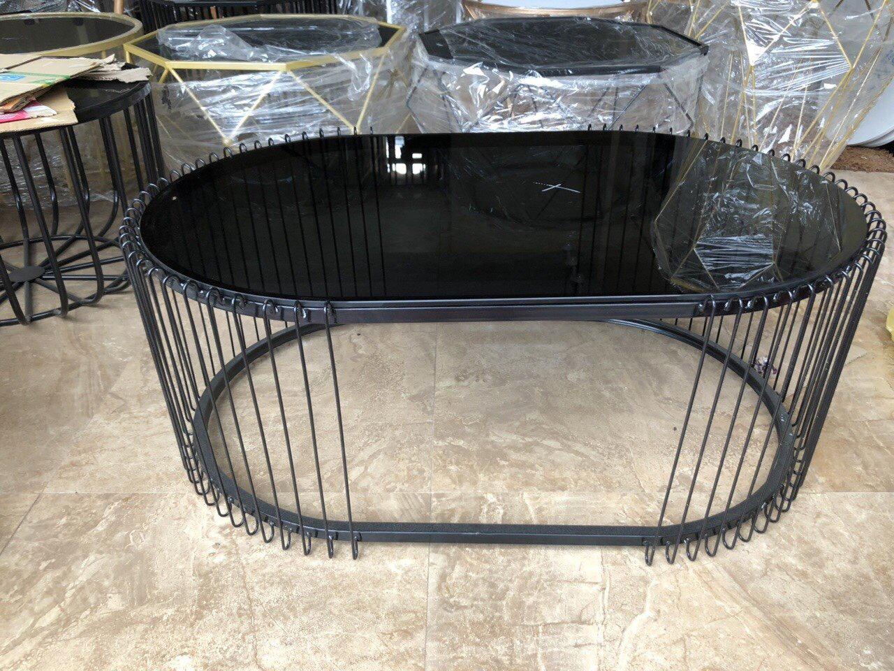 Bàn Sofa mặt kính khung sắt sơn tĩnh điện
