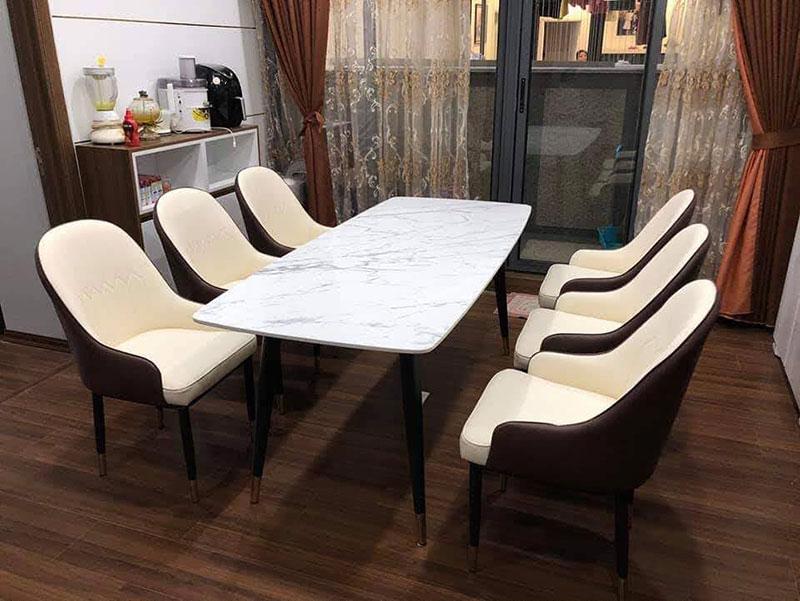 Bộ bàn ăn cao cấp 6 ghế Monet