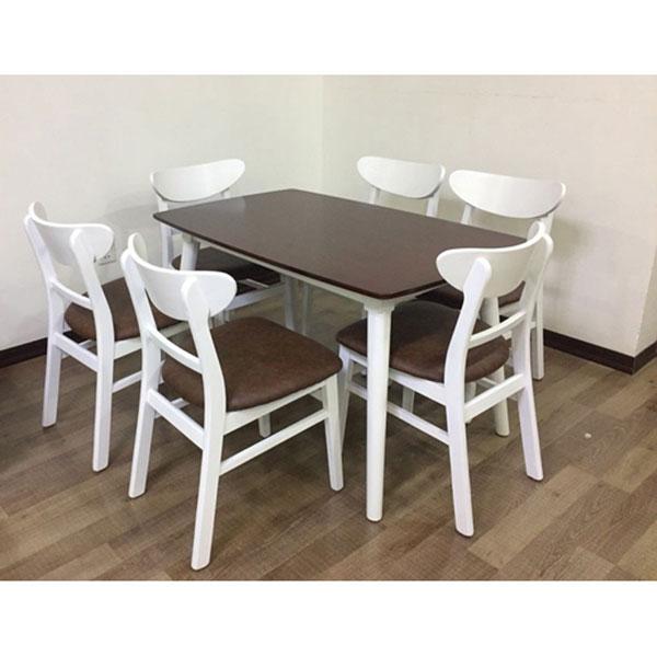 Bộ bàn ăn Mango 6 ghế trắng đệm Nâu