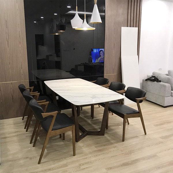 Bộ bàn ăn mặt đá 6 ghế Kai