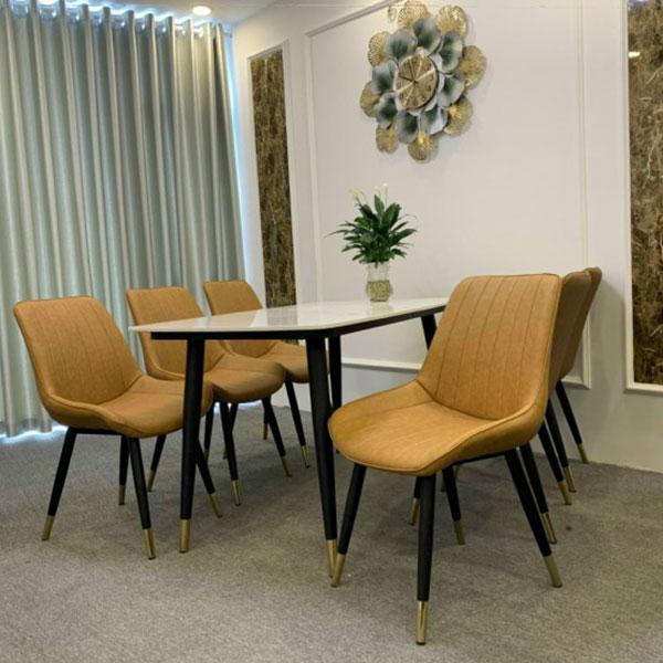 Bộ bàn ăn mặt đá mang đến phong cách hiện đại, sang trọng