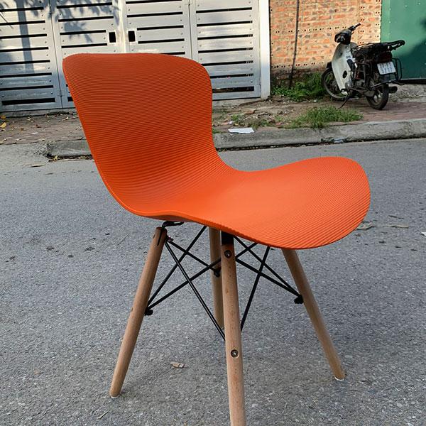Ghế Nhựa Chân Gỗ màu cam