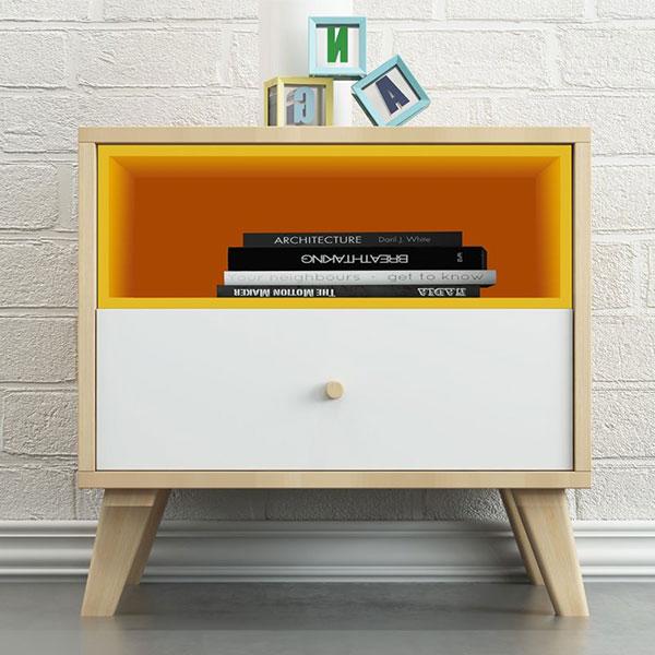 Kệ Đầu Giường Xinh Xắn với 1 ngăn kéo và 1 ngăn trang trí màu cam