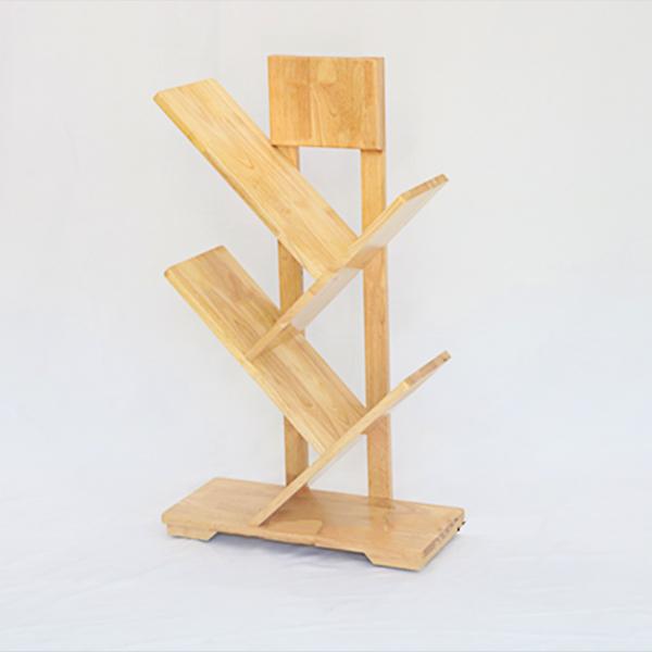 Kệ Sách Xương Cá 3 tầng được làm từ chất liệu gỗ cao su tự nhiên 100%