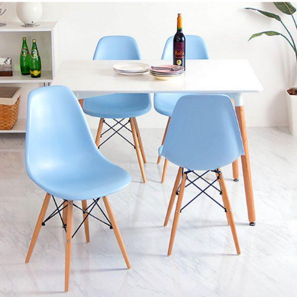 Bộ bàn ăn Eames 4 ghế màu xanh dương