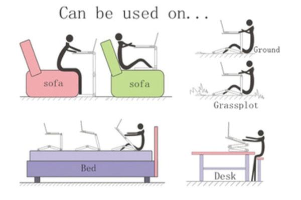 Ứng dụng của bàn rất đa năng và đặt được ở mọi nơi cầm theo khi đi du lịch, trên giường ngủ, làm bàn ăn, bàn uống nước, đọc sách ngồi ghế sofa hay bên ngoài bãi cỏ