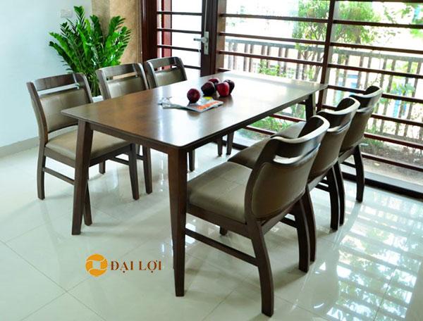 bộ bàn ăn 6 ghế hiện đại màu nâu