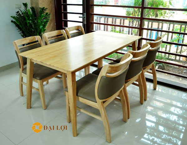bộ bàn ăn 6 ghế hiện đại gỗ cao su tự nhiên