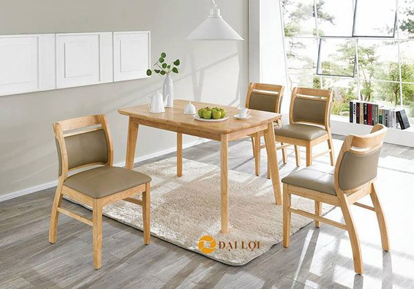 Bộ bàn ghế phòng ăn hiện đại Ashley cao cấp 4 ghế màu vàng