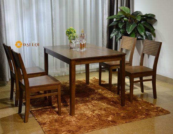 Bộ bàn ghế ăn gỗ xuất khẩu Cherry 4 ghế màu nâu