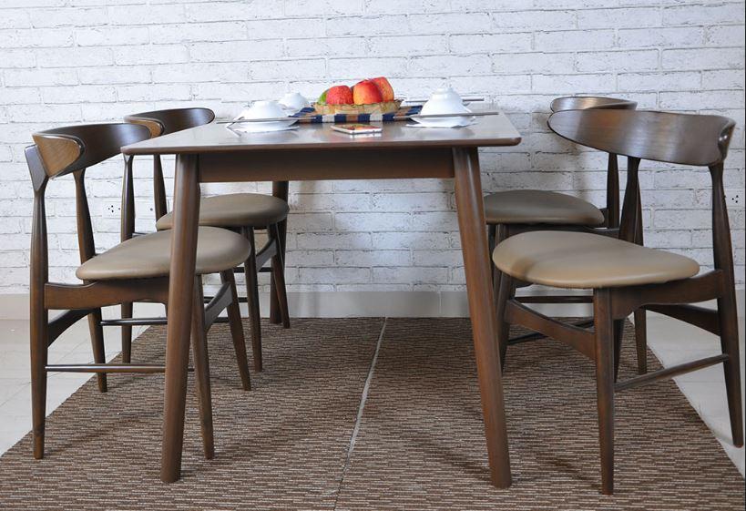 Bộ bàn ghế ăn hiện đại Lunar 4 ghế màu Nâu