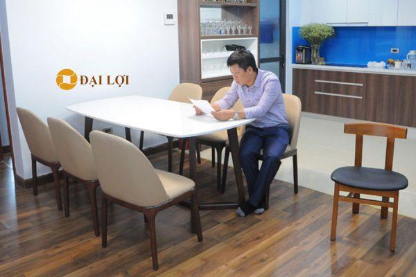 Bàn ghế ăn hiện đại mặt đá DRAGON 110