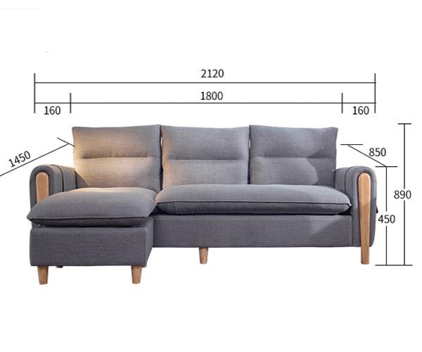 kích thước chi tiết của sofa