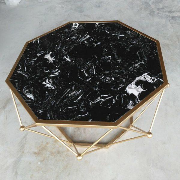 bàn sofa kim cương mặt đá chân inox mạ PVD