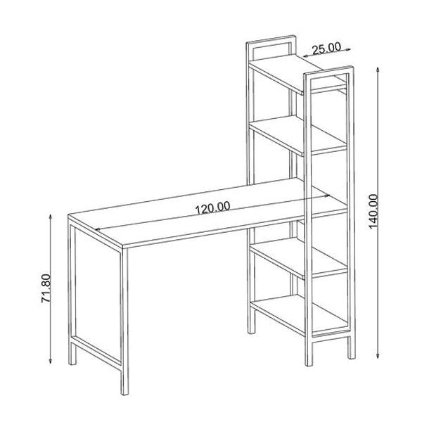 Kích thước của bàn DL02, dài 1200 mm, cao 720mm, kệ sách cao 1400 mm